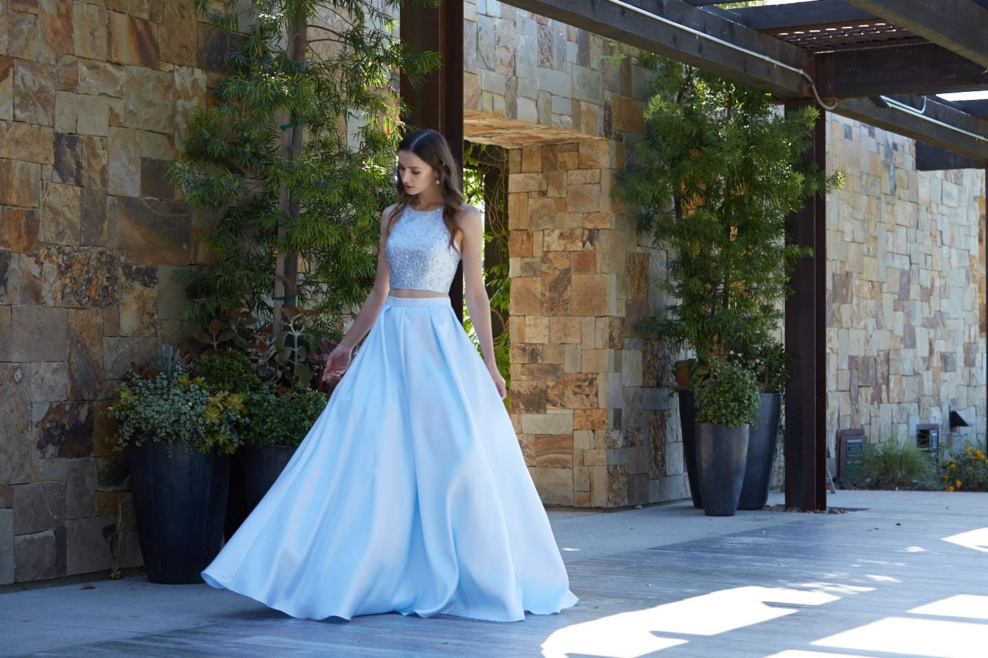 Sexy Top Baby Blue Two Piece Ball Gown