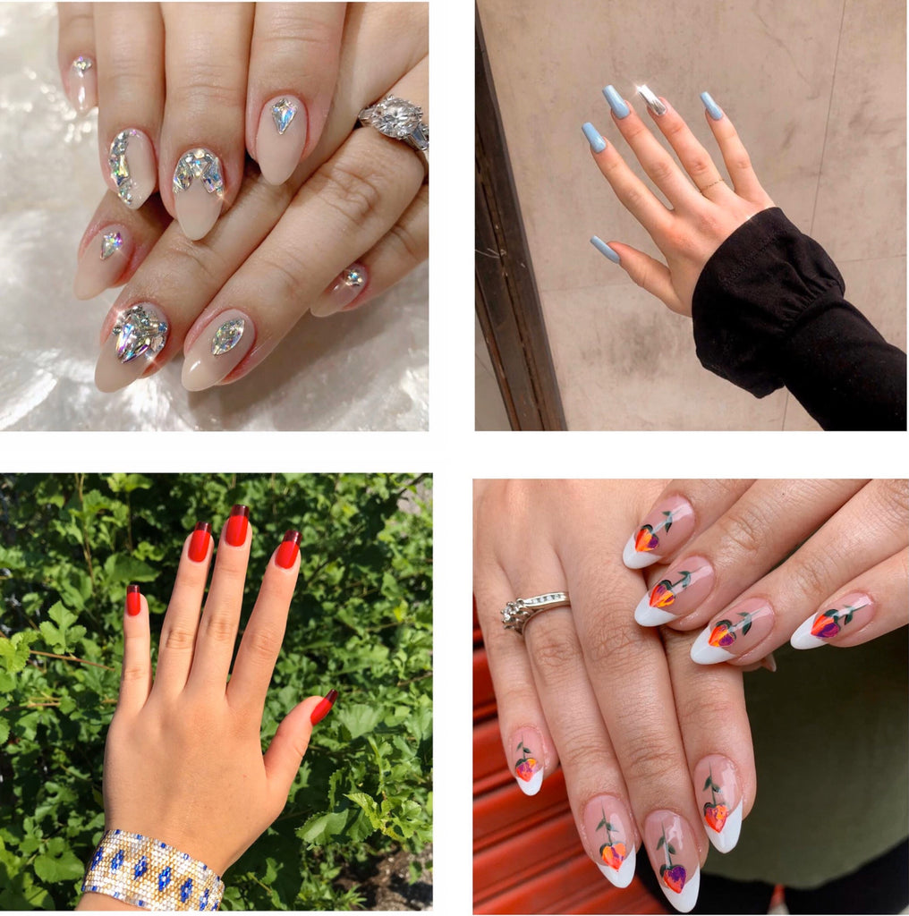 Four different nails designs with Japanese art inspiration on female model