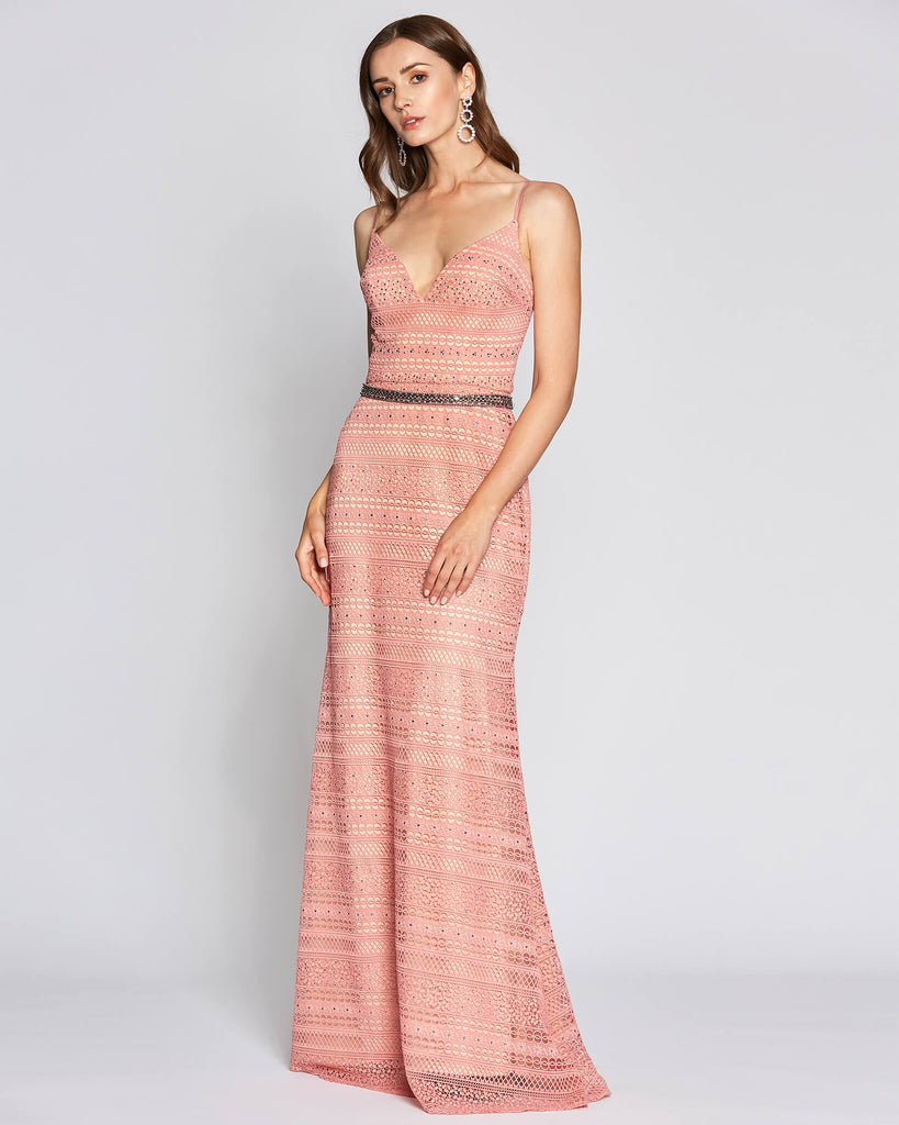 Thin Strap Pink Graduation Dress
