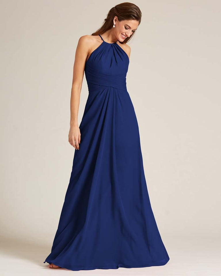Dark Navy Halter Chiffon Long Skirt Dress