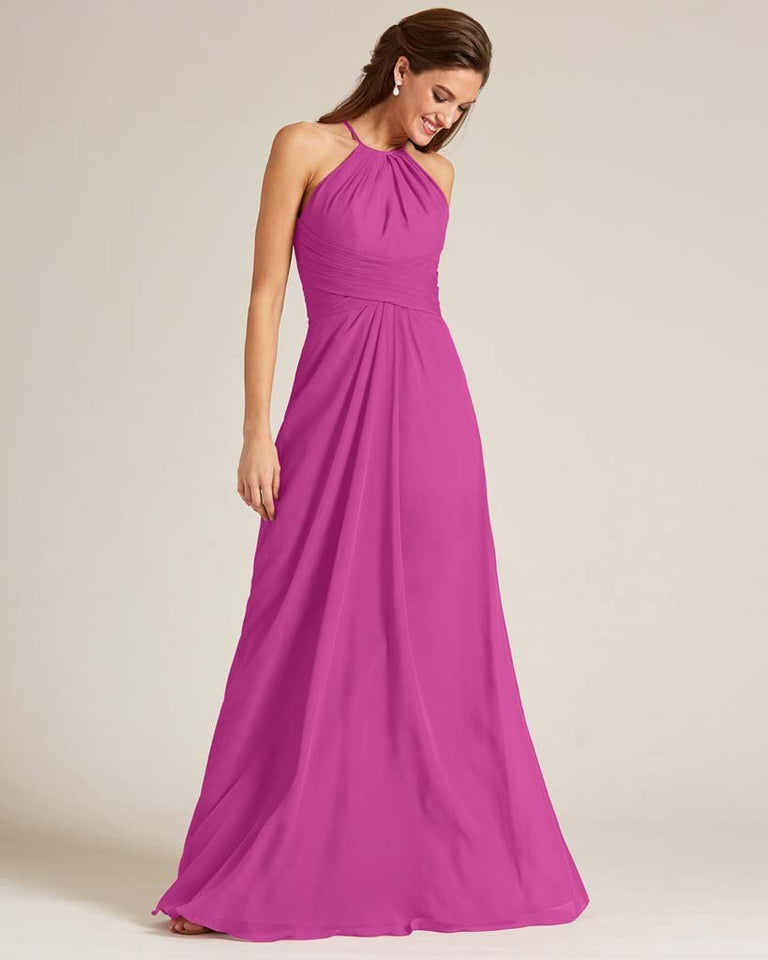 Fuchsia Halter Chiffon Long Skirt Dress
