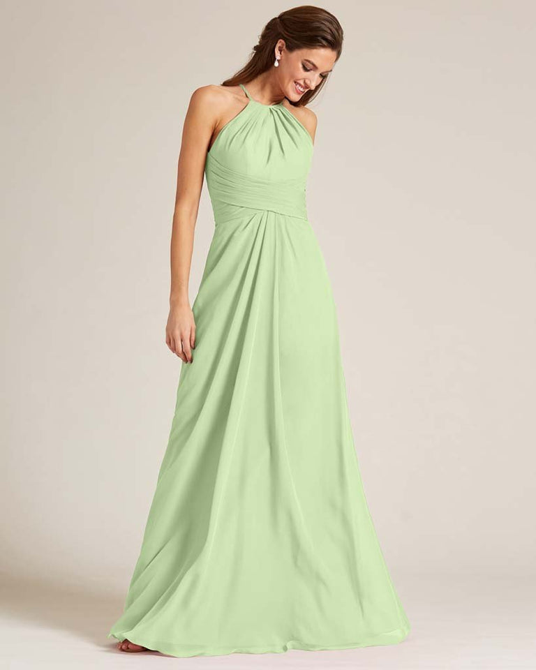 Paradise Sage Halter Chiffon Long Skirt Dress