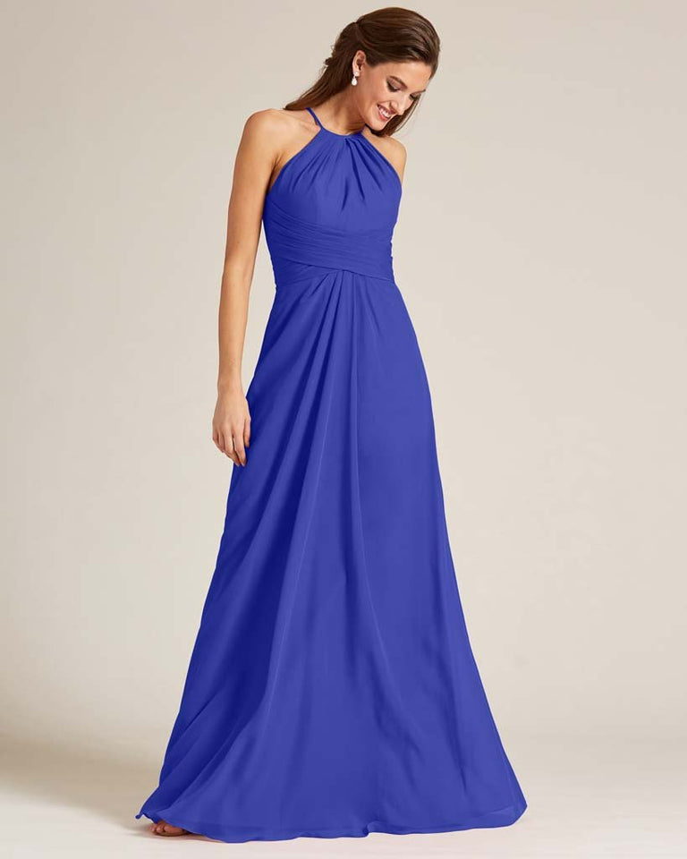 Royal Blue Halter Chiffon Long Skirt Dress