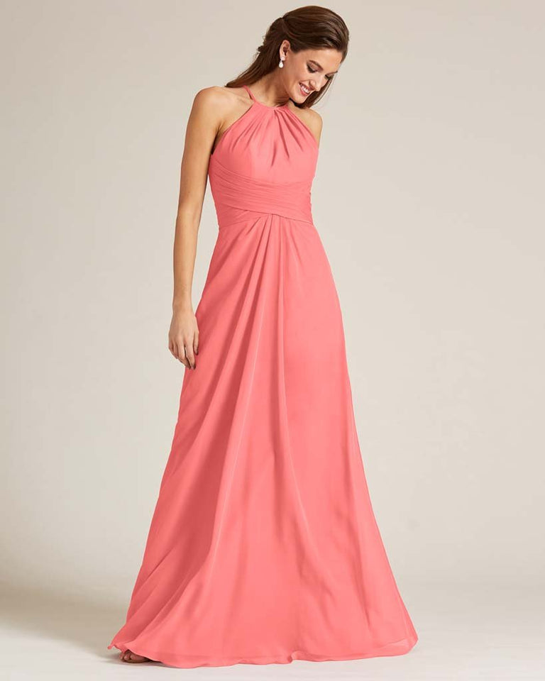 Watermelon Halter Chiffon Long Skirt Dress