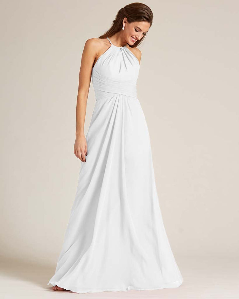 White Halter Chiffon Long Skirt Dress