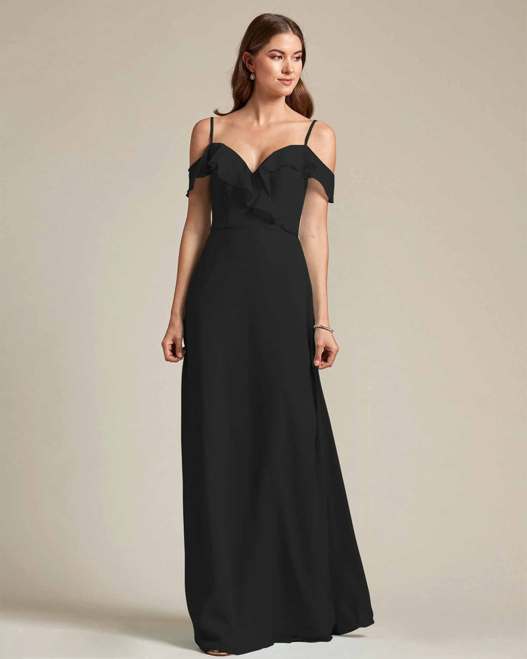 Black Flounder Top With Over The Shoulder Sleeves Bridesmaid Gown