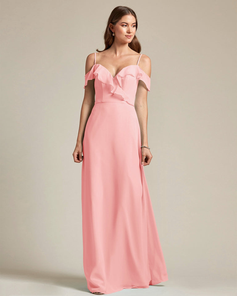 Candy Pink Flounder Top With Over The Shoulder Sleeves Bridesmaid Gown