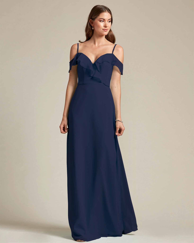 Dark Navy Flounder Top With Over The Shoulder Sleeves Bridesmaid Gown