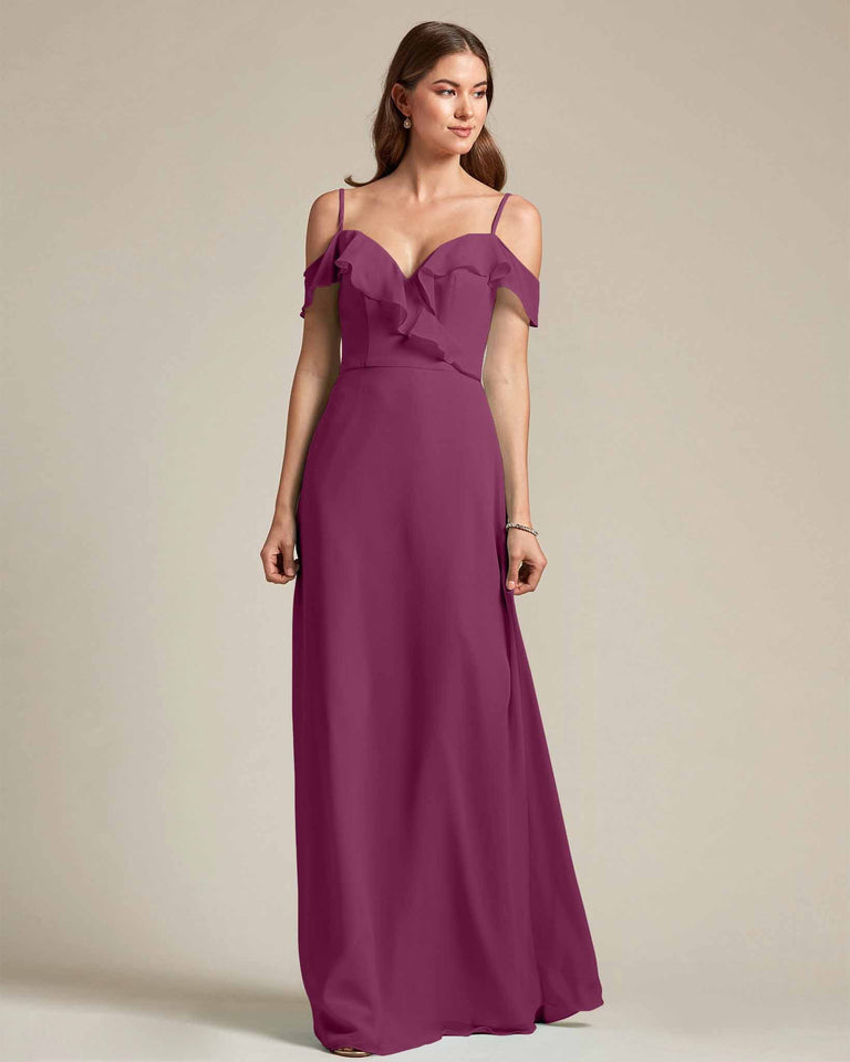 Grape Flounder Top With Over The Shoulder Sleeves Bridesmaid Gown