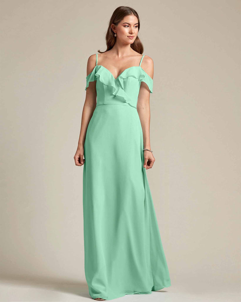 Mint Green Flounder Top With Over The Shoulder Sleeves Bridesmaid Gown