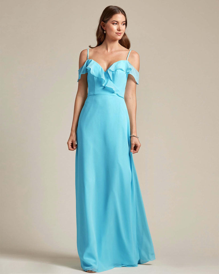 Pool Flounder Top With Over The Shoulder Sleeves Bridesmaid Gown