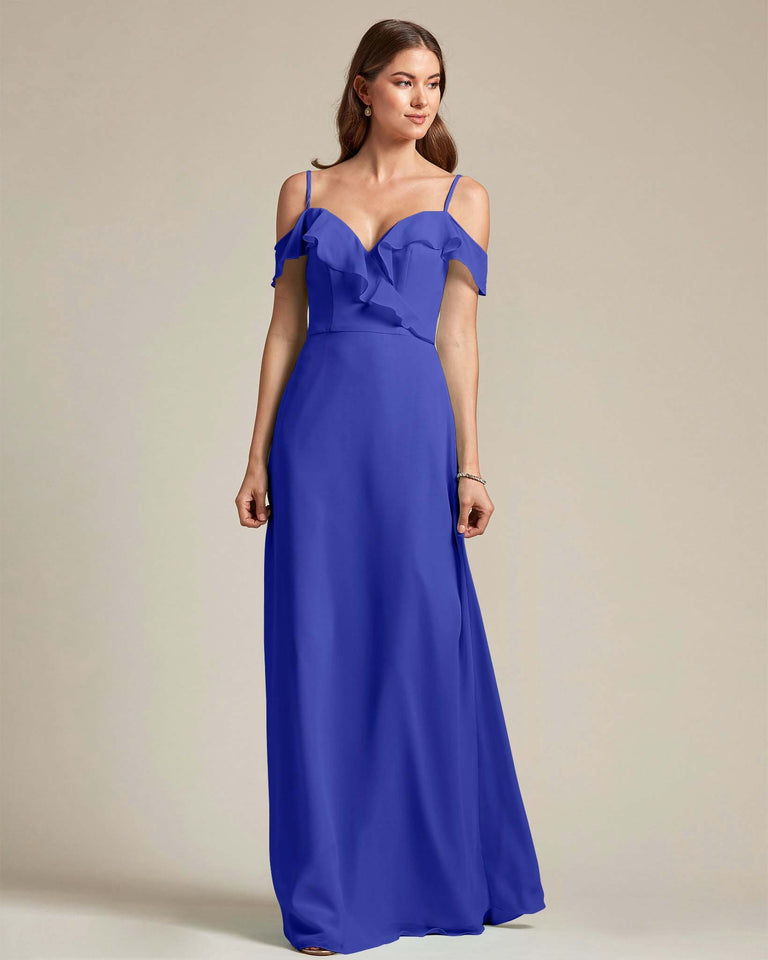 Royal Blue Flounder Top With Over The Shoulder Sleeves Bridesmaid Gown