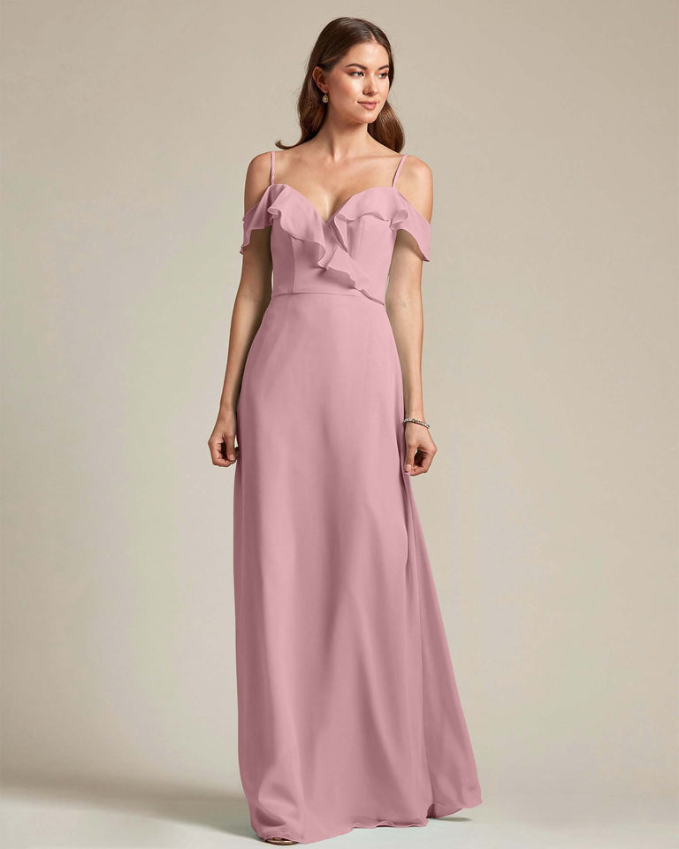 Vintage Mauve Flounder Top With Over The Shoulder Sleeves Bridesmaid Gown