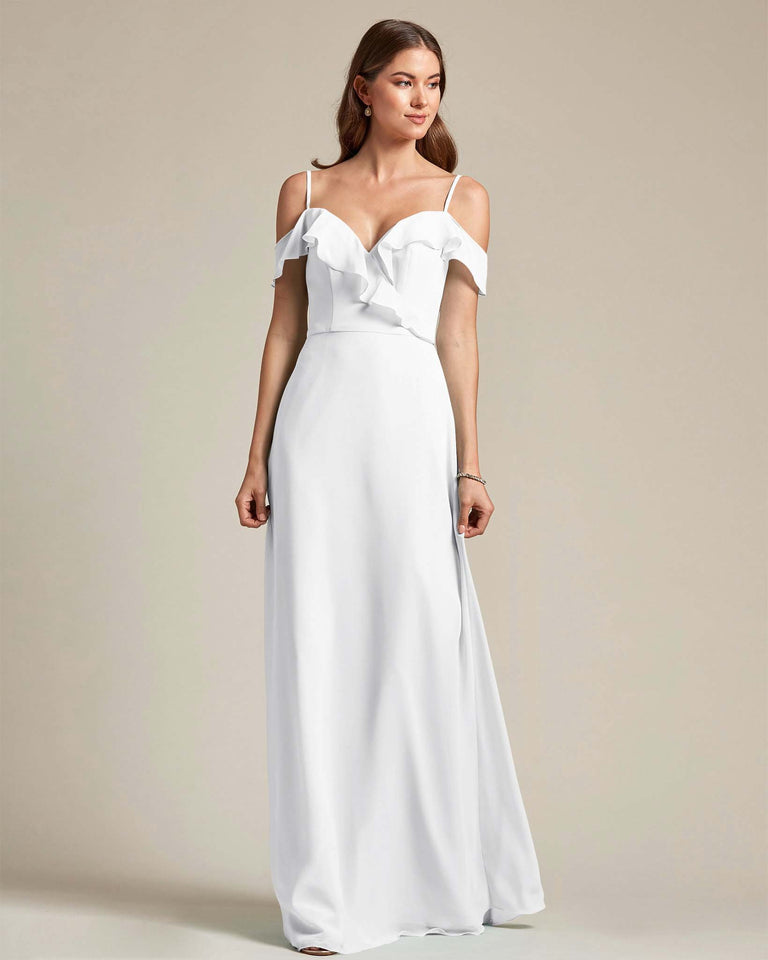 White Flounder Top With Over The Shoulder Sleeves Bridesmaid Gown