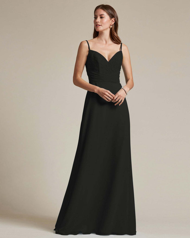 Black Classic Sweetheart Shaped Top Formal Dress With Long Length Skirt
