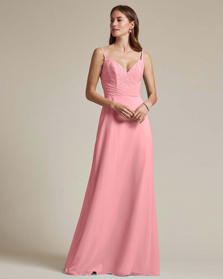 Flamingo Pink Classic Sweetheart Shaped Top Formal Dress With Long Length Skirt