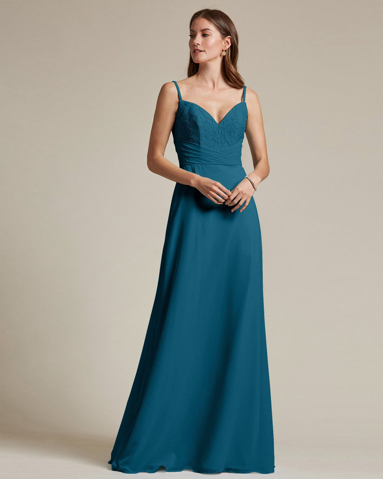 Ink Blue Classic Sweetheart Shaped Top Formal Dress With Long Length Skirt