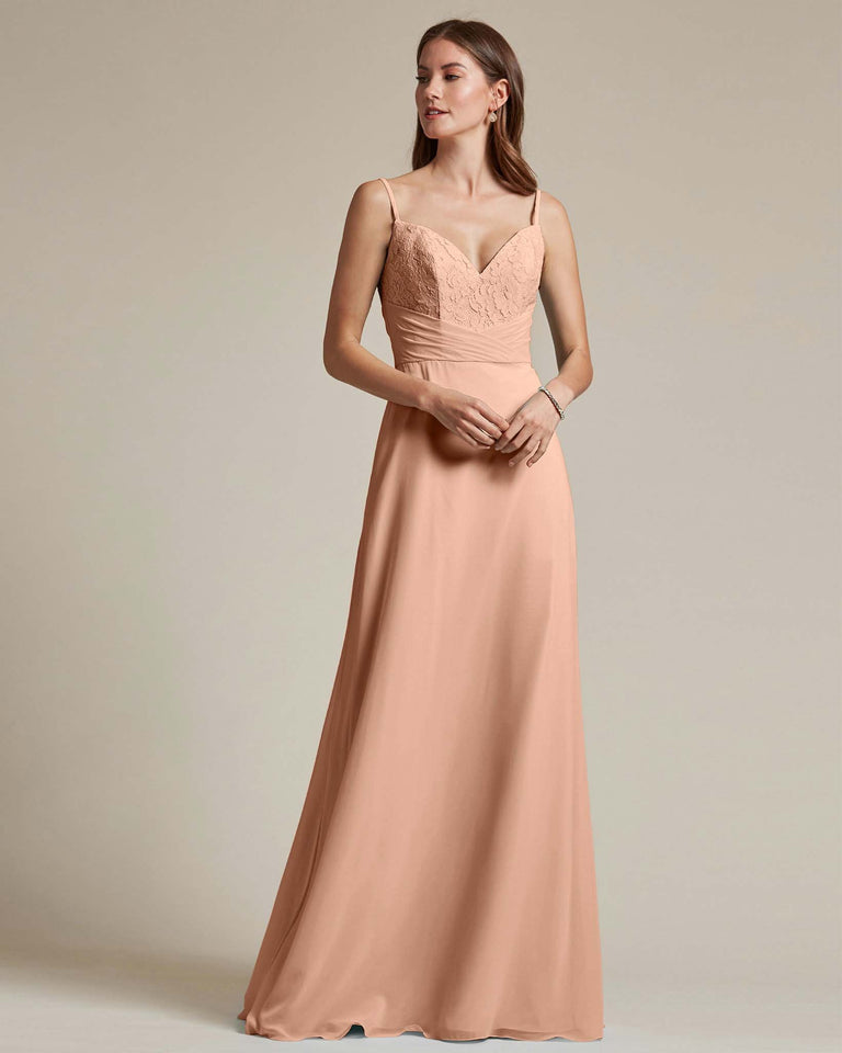 Peach Classic Sweetheart Shaped Top Formal Dress With Long Length Skirt