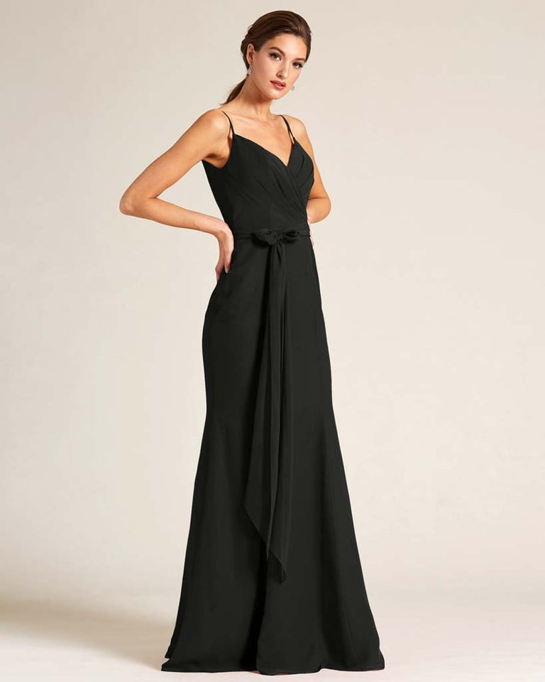 Black Sleeveless Bow Detail Formal Dress