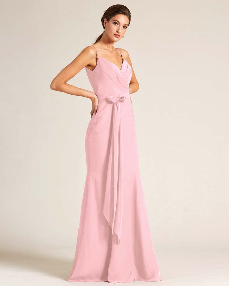 Blushing Pink Sleeveless Bow Detail Formal Dress