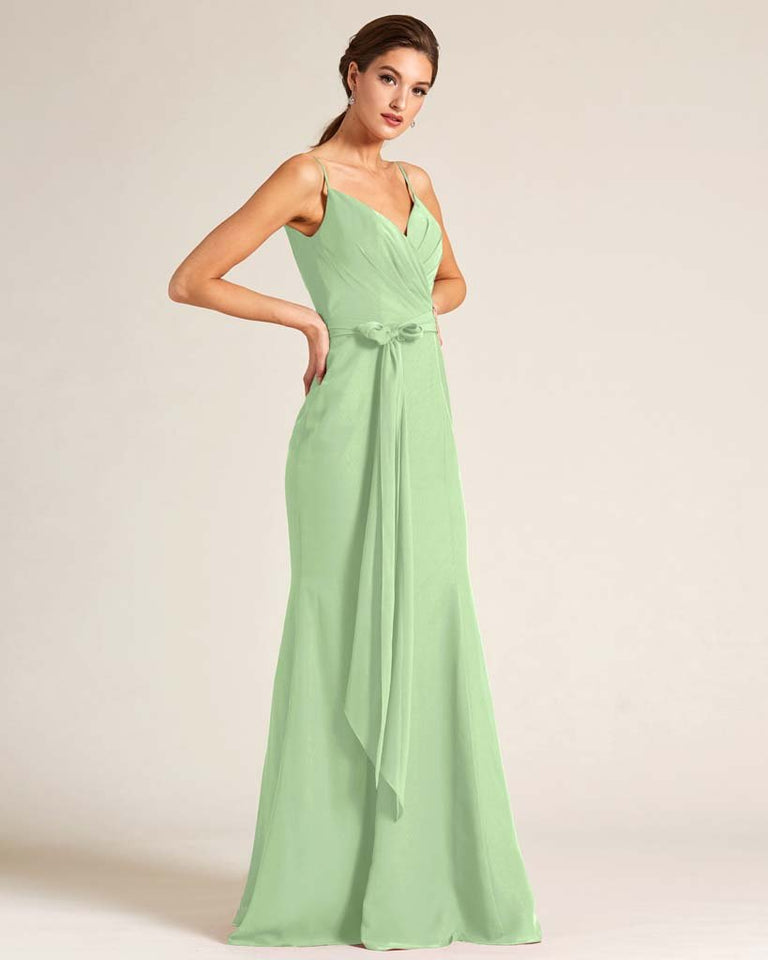 Celadon Sleeveless Bow Detail Formal Dress