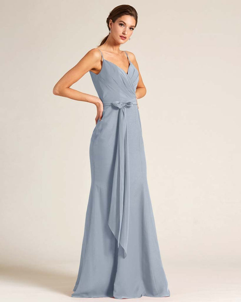 Dusty Blue Sleeveless Bow Detail Formal Dress