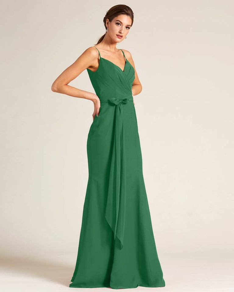 Jolly Green Sleeveless Bow Detail Formal Dress