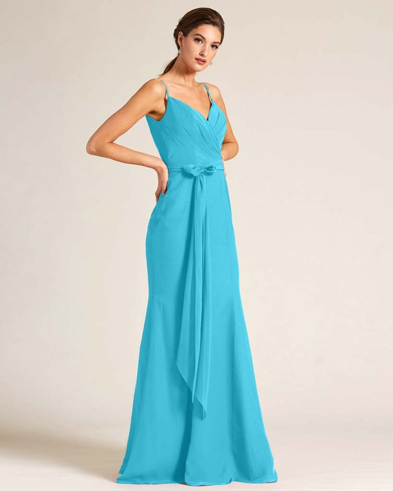 Pool Sleeveless Bow Detail Formal Dress