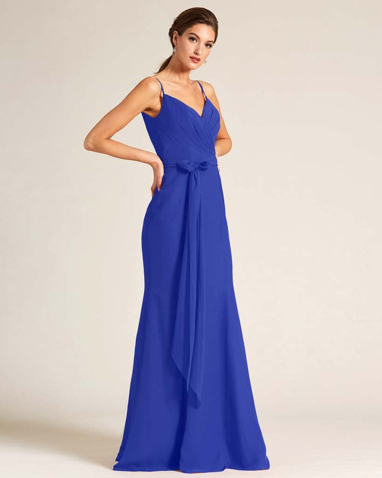 Royal Blue Sleeveless Bow Detail Formal Dress