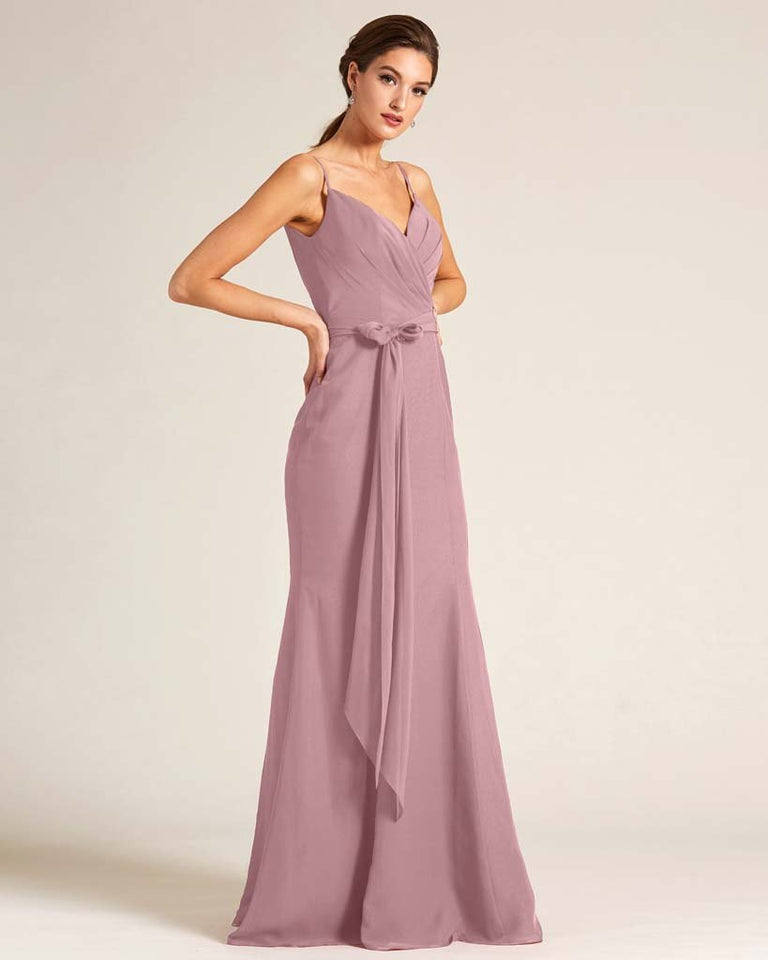 Vintage Mauve Sleeveless Bow Detail Formal Dress