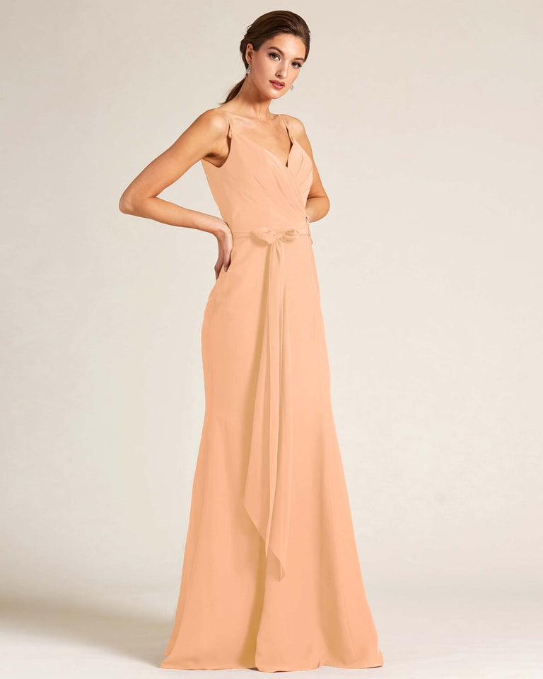 Peach Sleeveless Bow Detail Formal Dress