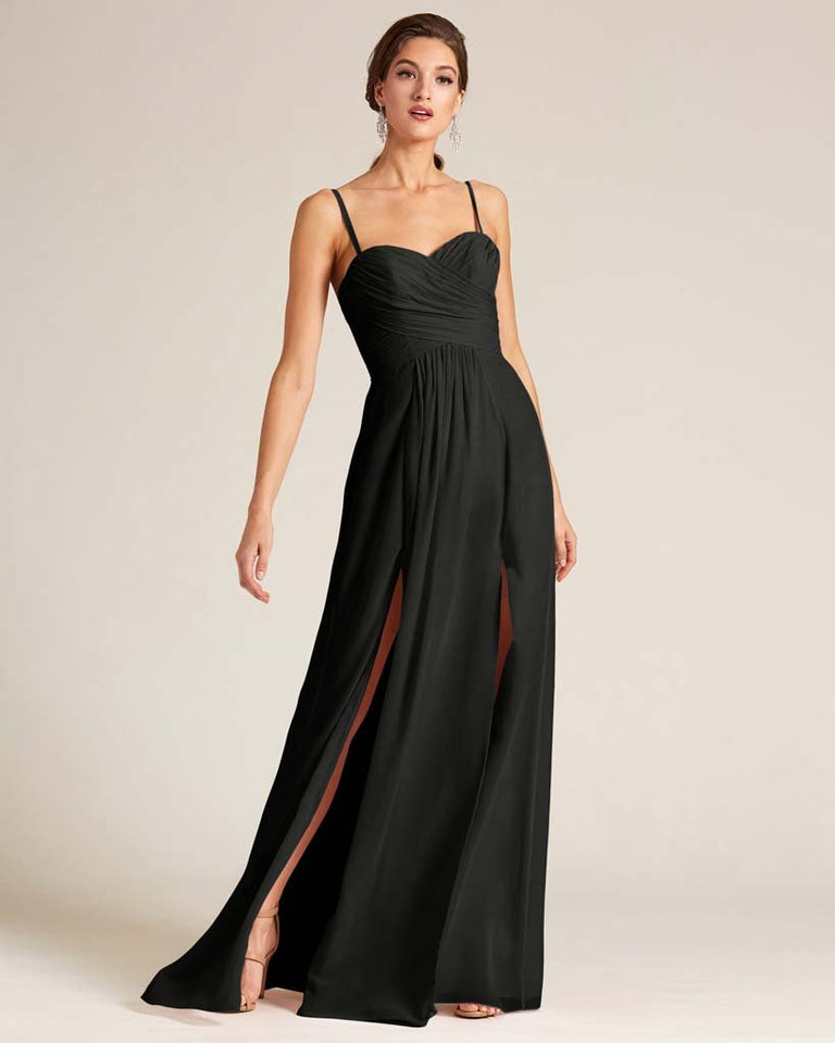 Black Double Slit Skirt Formal Dress