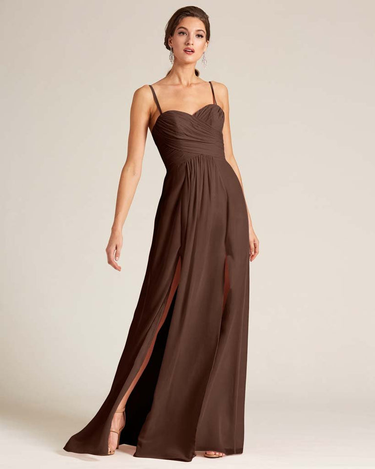 Chocolate Double Slit Skirt Formal Dress