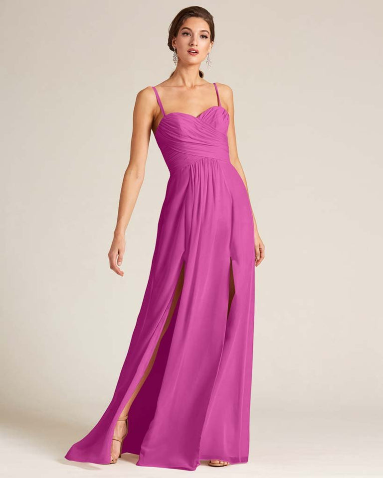 Fuchsia Double Slit Skirt Formal Dress