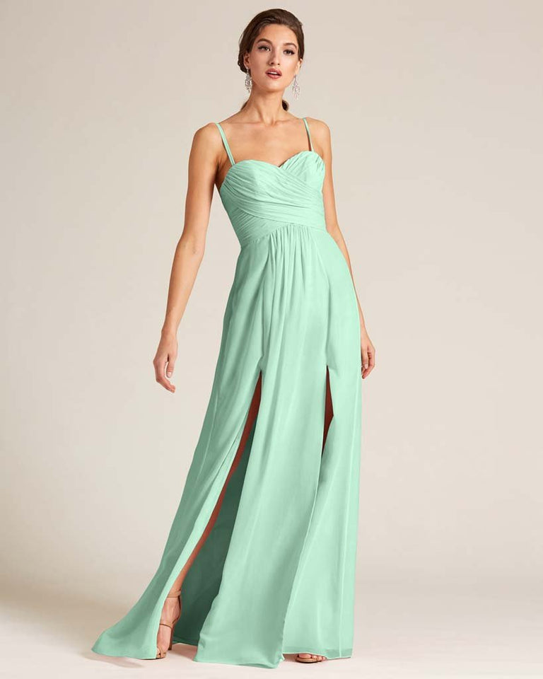 Mint Green Double Slit Skirt Formal Dress