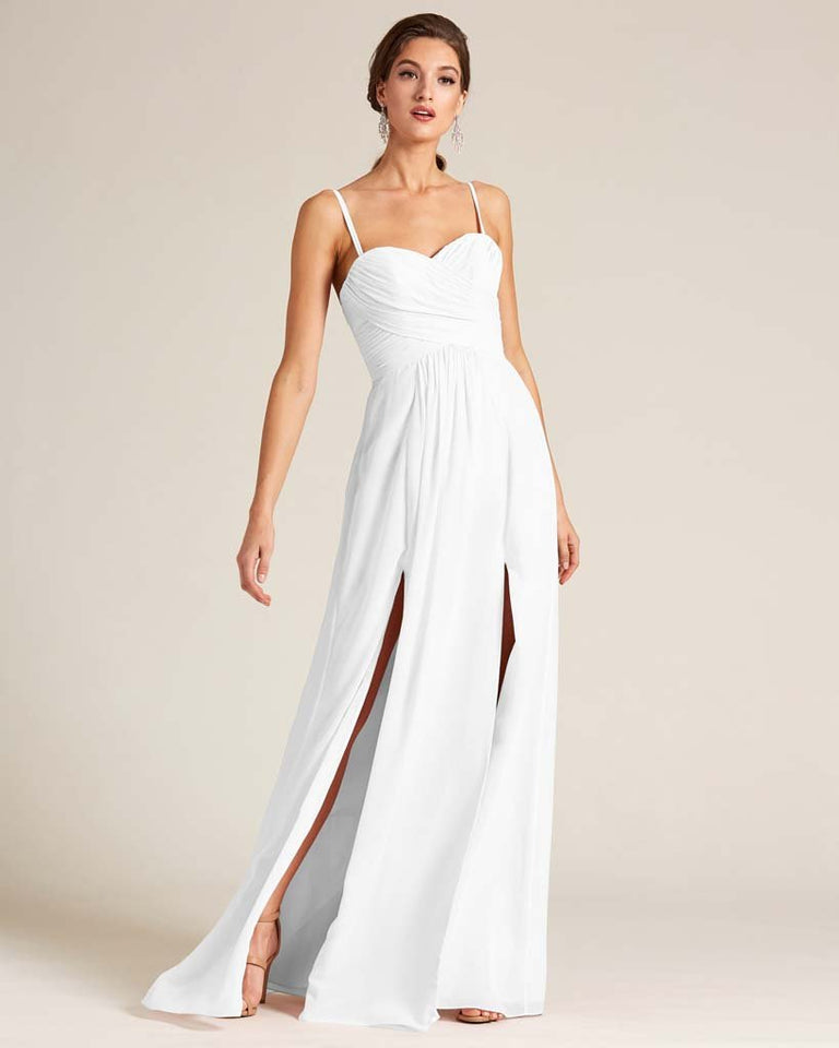White Double Slit Skirt Formal Dress