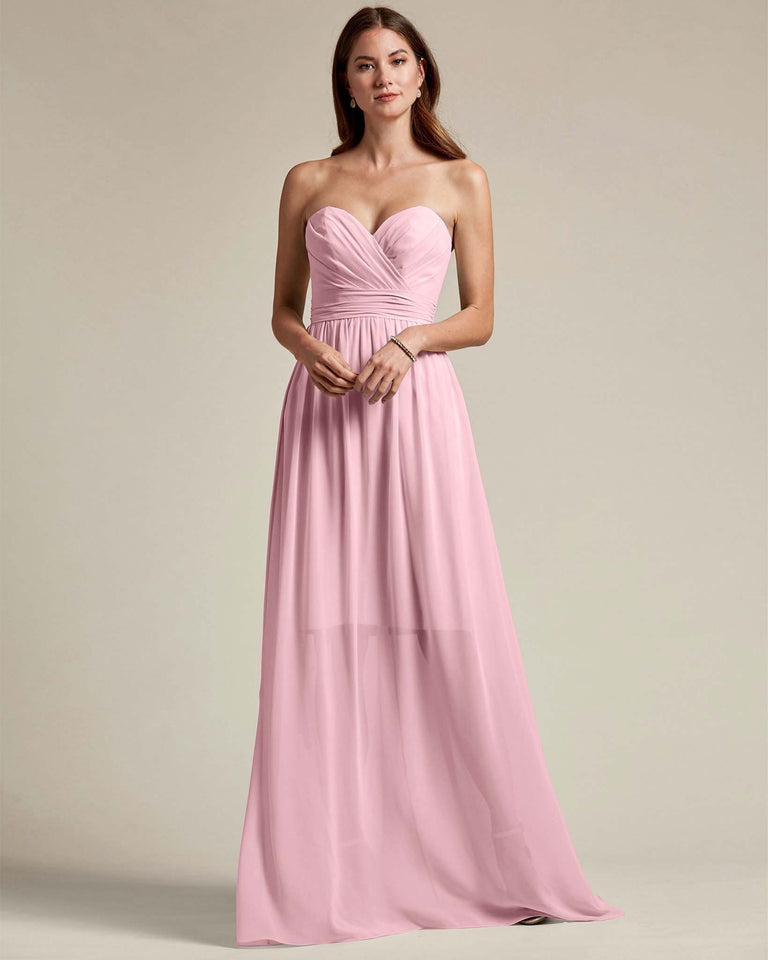 Cherry Blossom Sleeveless Sweetheart Shaped Bridesmaid Gown With Sheer Maxi Skirt