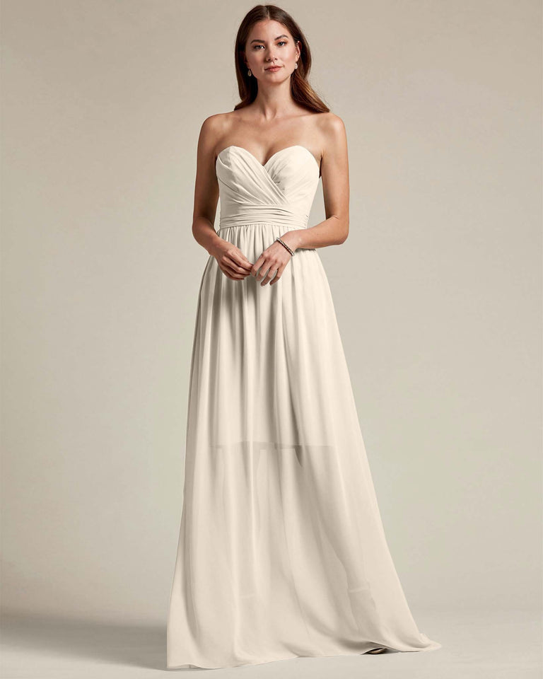 Frost Sleeveless Sweetheart Shaped Bridesmaid Gown With Sheer Maxi Skirt
