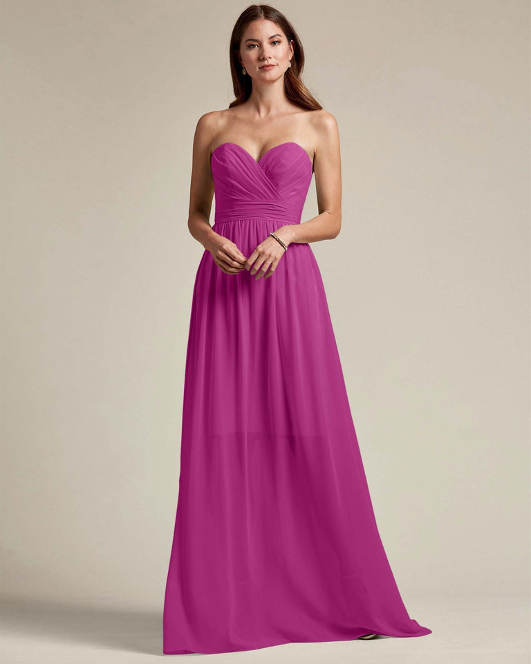 Fuchsia Sleeveless Sweetheart Shaped Bridesmaid Gown With Sheer Maxi Skirt