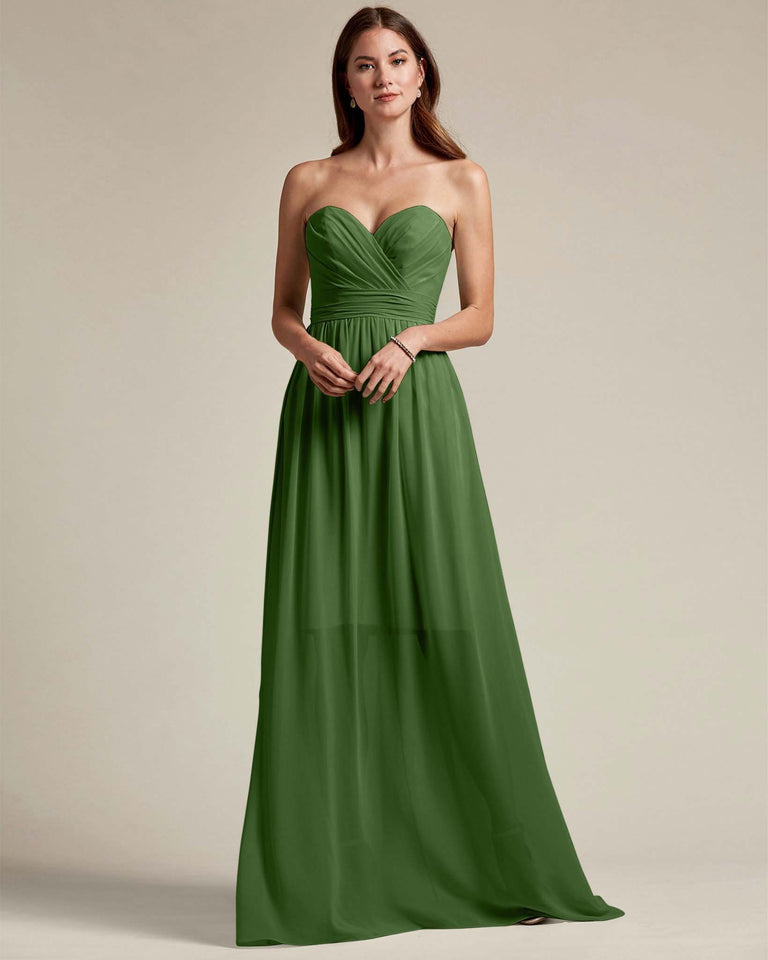 Moss Sleeveless Sweetheart Shaped Bridesmaid Gown With Sheer Maxi Skirt