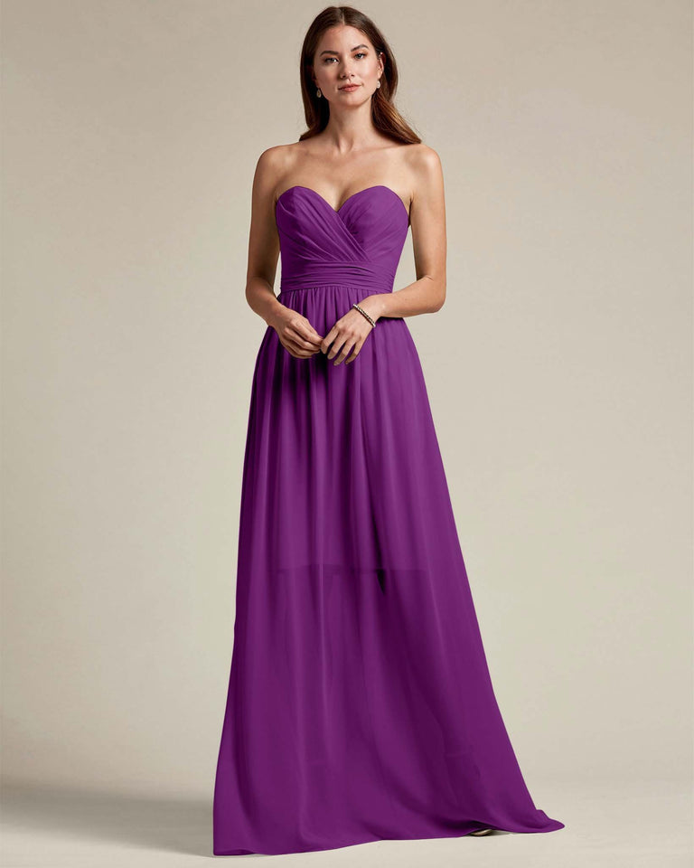 Passion Sleeveless Sweetheart Shaped Bridesmaid Gown With Sheer Maxi Skirt