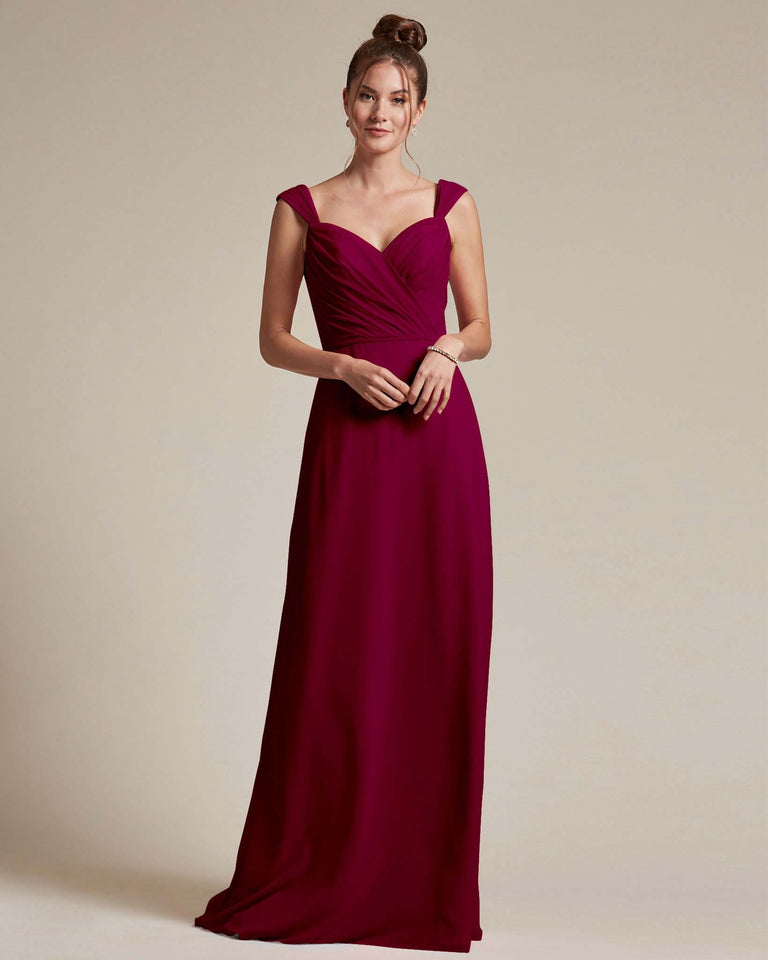 Burgundy Sweetheart Neckline Long Length Skirt Bridesmaid Dress