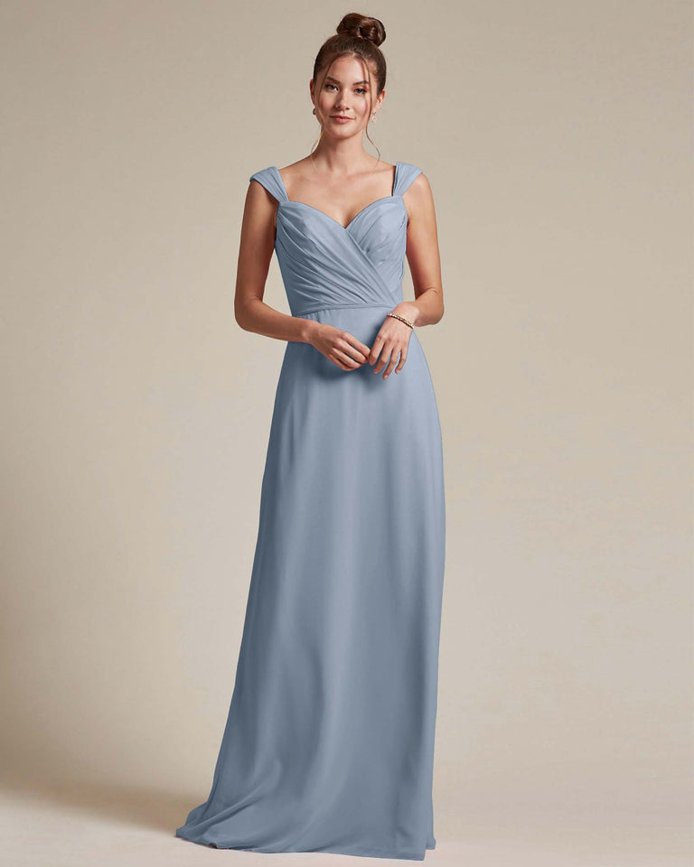 Dusty Blue Sweetheart Neckline Long Length Skirt Bridesmaid Dress