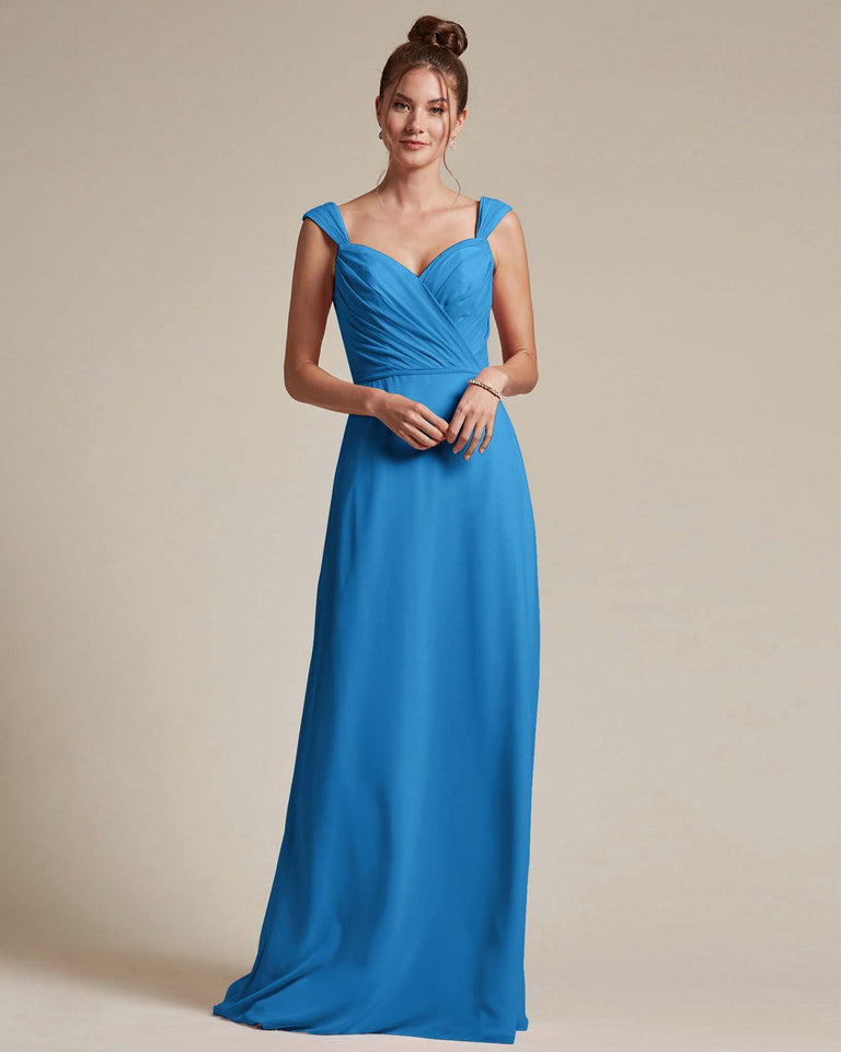 Ocean Blue Sweetheart Neckline Long Length Skirt Bridesmaid Dress