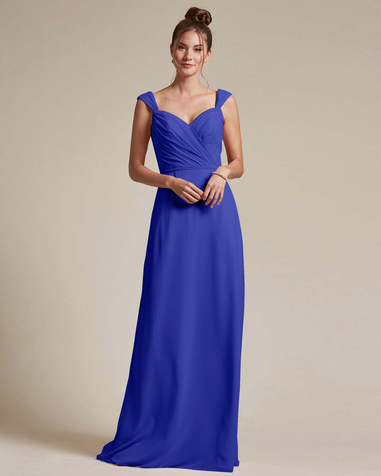 Royal Blue Sweetheart Neckline Long Length Skirt Bridesmaid Dress