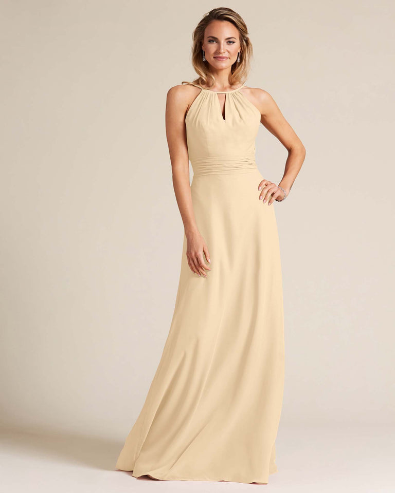 Champagne Cut Out Back Long Dress