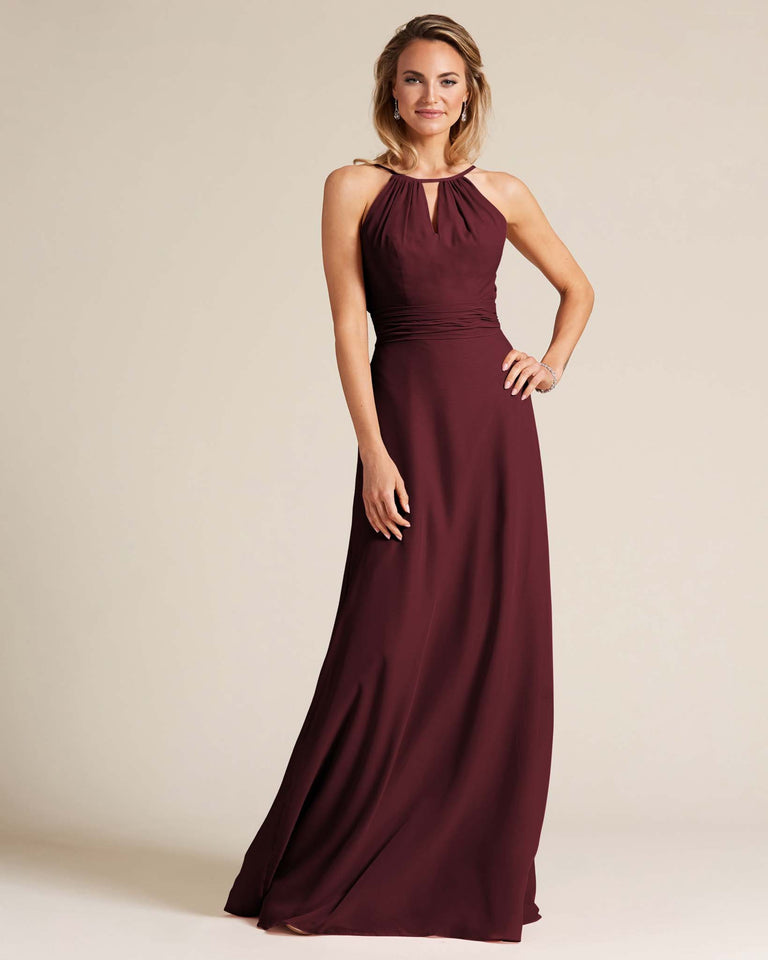 Claret Cut Out Back Long Dress