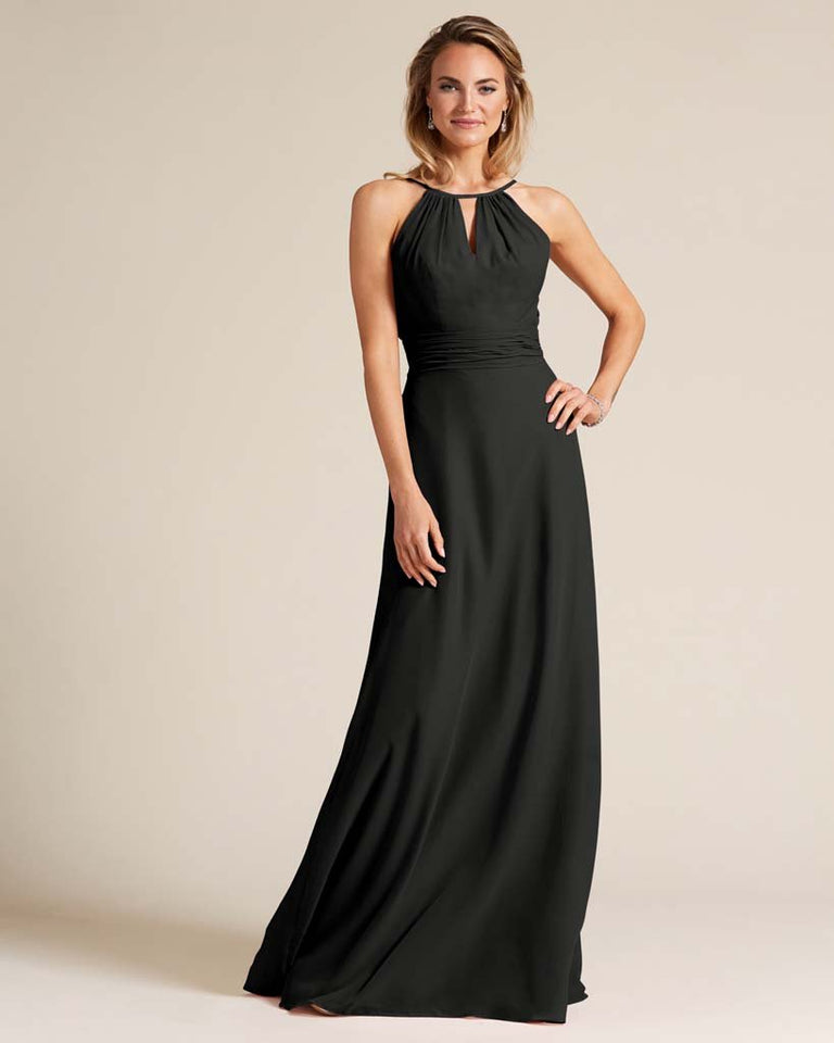 Black Cut Out Back Long Dress