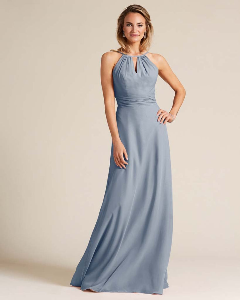 Dusty Blue Cut Out Back Long Dress