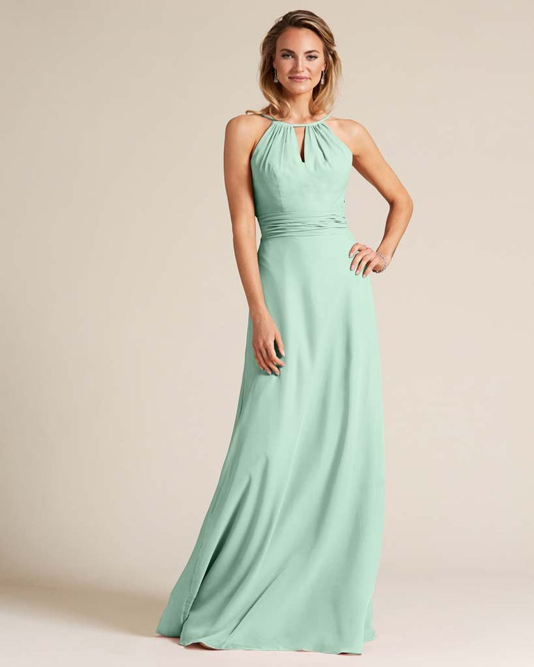 Mint Green Cut Out Back Long Dress